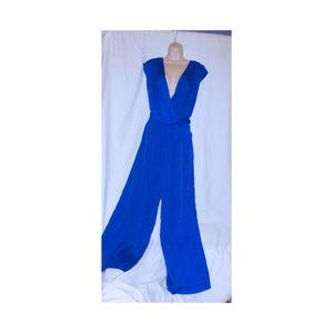 GIANNI BINI Royal Blue Pluge Wrap Jumpsuit L 12